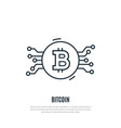 bitcoin line icon cryptocurrency vector image vector image