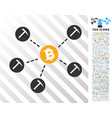 bitcoin mining network flat icon with bonus vector image vector image