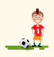 boy with football ball flat design soccer sport vector image vector image