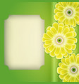 cactus with flowers blank page on green vector image