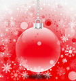 Christmas ball and snowflakes with red background vector image vector image