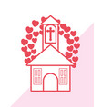 church with hearts design vector image