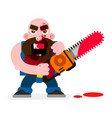crazy murderer covered in blood with a chainsaw vector image vector image