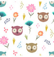 cute cartoon pattern with owl heads and flowers vector image vector image