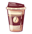 disposable mug with lid coffee container with cap vector image vector image