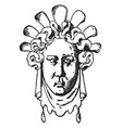 female grotesque mask vintage engraving vector image vector image