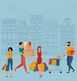 flat design shopping characters concept vector image