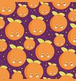 food pattern funny happy cartoon citrus orange vector image vector image