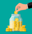 glass money jar full gold coins and hand vector image vector image