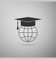 graduation cap on globe icon world education sign vector image