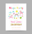 greeting card with cute magic unicorns rainbow vector image vector image