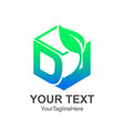 initial letter d logo template colored green cube vector image vector image