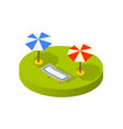 isometric view sunny beach with umbrellas vector image