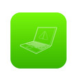 laptop with a warning signal icon green vector image vector image