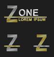 Metallic business font design - letter Z vector image vector image