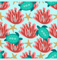 pattern with turtles and coral vector image