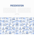 presentation concept with thin line icons vector image vector image