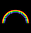 rainbow icon realistic isolated black background vector image