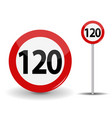 round red road sign speed limit 120 kilometers per vector image vector image