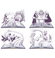 russian folk tales set open book vector image