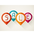 Sale poster with location markers in flat design vector image