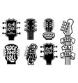 set rock and roll guitars necks heads with vector image