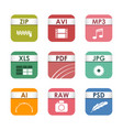 simple square file types formats labels icon set vector image vector image
