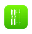 skis and ski poles icon digital green vector image vector image