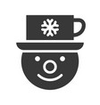 snowman and cup on head in christmas and winter vector image