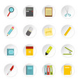 stationery symbols icons set in flat style vector image vector image