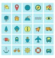 Travel and Transportation icon set in flat design vector image vector image