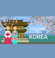 travel to south korea poster korean coupe wear vector image vector image