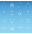 Travelling thin line icons set vector image