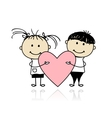 Valentine day Children with big red heart for your vector image
