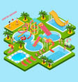 water park aquapark isometric composition vector image vector image