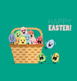 wicker basket with easter eggs vector image vector image