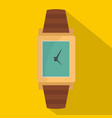 wristwatch wood icon flat style vector image vector image