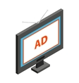 Advertising on TV icon isometric 3d style vector image vector image