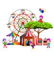 an awasome circus with so many clown around it vector image