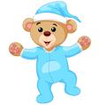 Cartoon teddy bear in blue pajamas vector image vector image