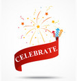Celebration ribbon with fireworks vector image vector image