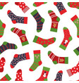 christmas socks pattern seamless texture with vector image vector image