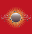 circle shield on red vector image vector image