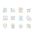 city elements color line icons set vector image vector image