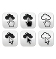 Cloud with cursor hand and arrow buttons set vector image