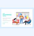 comfortable workspace online co-working vector image vector image