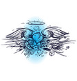 contour sketch of a heart with wings in a hand vector image vector image
