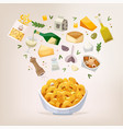 cooking process preparing mac and cheese vector image vector image