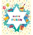 david star with objects purim holiday jewish vector image vector image