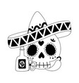 day dead skull with hat tequila chili vector image vector image